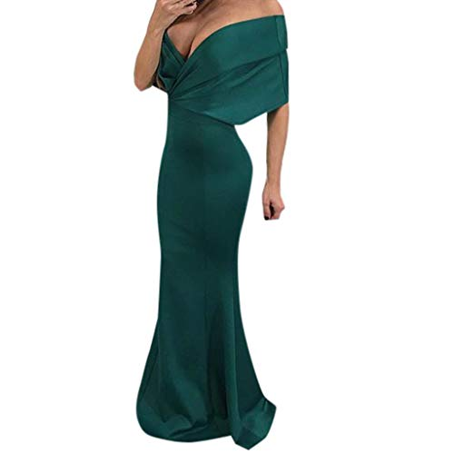 Clearance! Women's Sexy Deep V-Neck Off Shoulder Dresses Floor-Length Mermaid Evening Party...