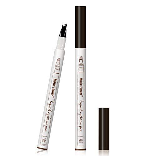 Augenbrauen Tattoo Pen Micro Ink Brow Pen 4 Punkte Microblading Eyebrow Pencil Langlebiger wasserdichter Augenbrauenstift Erstellt Mühelos Tägliches Make-up Natürliche Augenbrauen (Schwarz EB04)