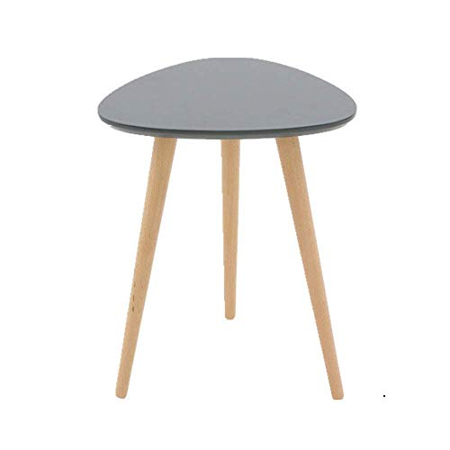 Round Coffee Table With Storage Side Table Home Solid Wood Triangle End Table,Modern Bedroom Corners Table Side Table,Nordic Creative Coffee Table with Pine Legs,Gray,40x50cm,Home/office