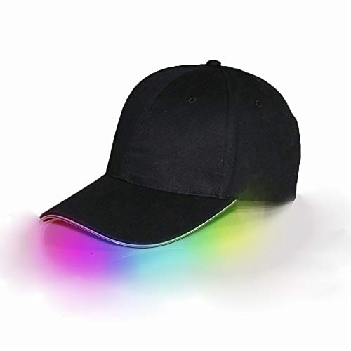 1 gorra de béisbol con luz LED brillante para deportes y viajes 1 Black Cap Mix Color Light