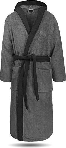 normani 100% Baumwoll Bademantel Saunamantel zweifarbig und einfarbig mit und ohne Kapuze für Damen und Herren (Gr. XS - 4XL) Farbe Grau/Schwarz Größe 4XL
