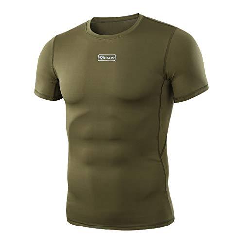 Celucke Kurzarm Muskelshirt Sport T Shirt Herren Rundhalsausschnitt Stretch Basic Shirts, Männer Tops Short Sleeve Top Tee Casual Coole O-Neck Kurzarmshirt Slim Fit
