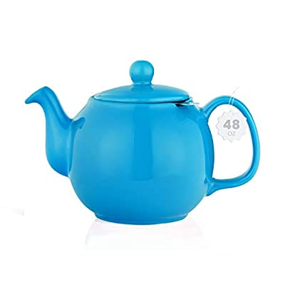 SAKI Large Porcelain Teapot, 48 Ounce Tea Pot with Infuser, Loose Leaf and Blooming Tea Pot - Blue