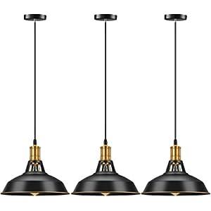 Pynsseu Farmhouse Style Industrial Pendant Light, Vintage Barn Hanging Pendant Lighting, Modern Pendant Lamp Fixture 3 Pack, Oil Rubbed Black Finish