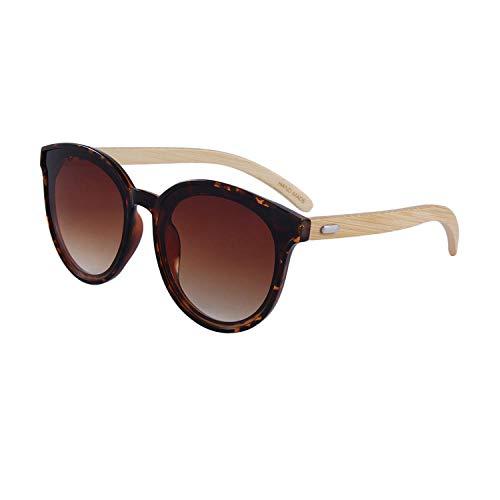 Gafas de sol de moda Gafas de sol de bambú Gafas de protección UV-C7 Marco de flor de soja Pata de bambú Doble chips de té