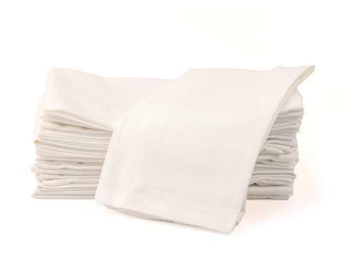 Amour Infini Baumwollservietten -12er Packung Luxuriös weiche in Hotelqualität, ringgesponnene Premium Baumwolle (Weiß)