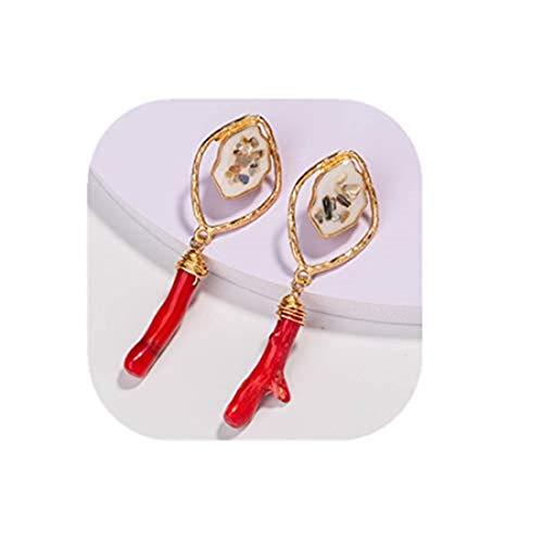 yichahu Pendientes largos de metal para mujer, diseño de concha geometría, con piedra de coral natural