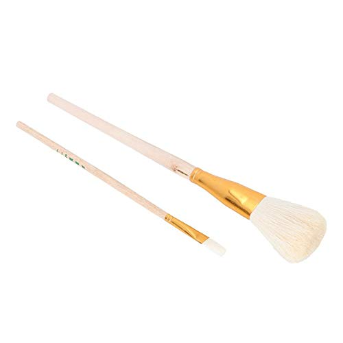 Big Head Clay Cleaning Drawing Wooden Brushes, Artists Paint Brushes, Pottery Clay Sculpture Carving Moisturizing Brush Set with Wool Hair(#1 + #10)