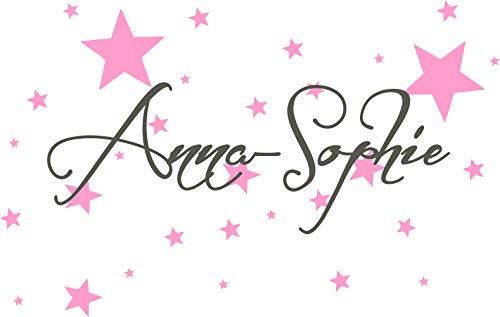 timalo® Wandtattoo Kinderzimmer mit Namen, 50 Selbstklebende Sterne - für Mädchen und Jungen, Aufkleber Wunschname, Namensaufkleber, Farbwahl 73065+70016 (dunkelgrau/rosa, Breite Name 58 cm)