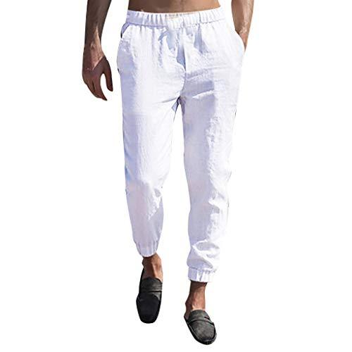 Pantaloni Uomo Lino Slim Fit Tuta Pantaloni Ragazzo Cargo con Elastico alle Caviglie Harem Pants Pantalone da Lavoro Uomini Taglie Forti Plus Size Oversize Pantaloni Estivi Elasticizzati Spiaggia