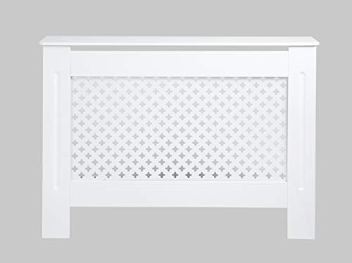Radiator Cover Cabinet MDF Traditional Cross Grill Design for Living/Bed room-White-Medium