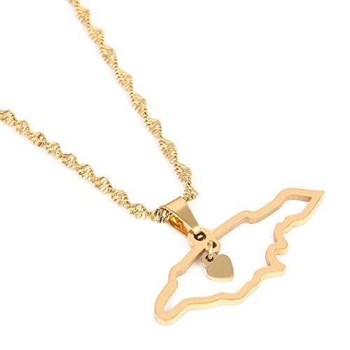 Jamaica Map Pendant Necklaces Jewellery Gold Color Jewelry Jamaican Map Flag Jewelry(Gold)