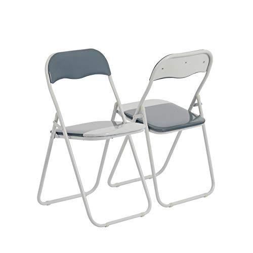 Chaise pliante rembourrée - pour le bureau - gris clair/blanc - lot de 2