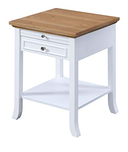 Convenience Concepts American Heritage Logan End Table with Drawer and Slide, Driftwood / White