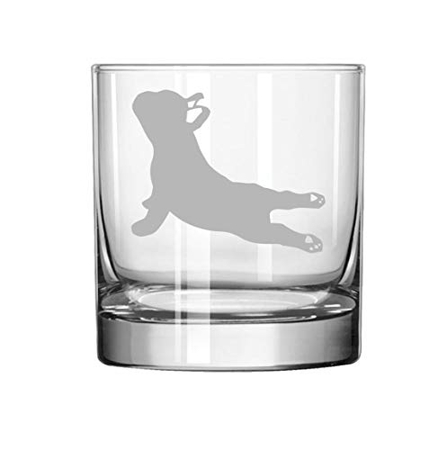 11 oz Rocks Whiskey Highball Glass French Bulldog Yoga