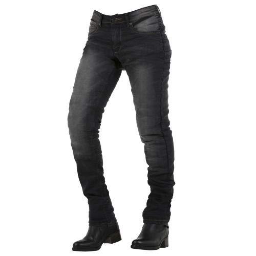 Overlap City - Pantalones Vaqueros para Mujer, homologados para Carretera, Color Negro, Talla 32