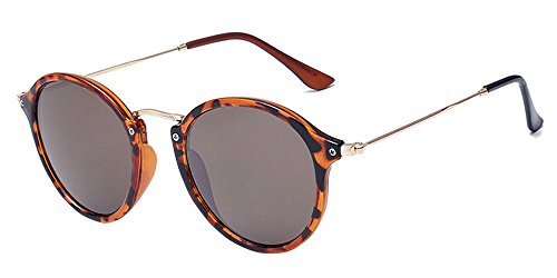 BOZEVON Retro Metall Cateye Sonnenbrillen - Vintage Rund Sonnenbrille für Damen & Herren Leopardmuster-Braun