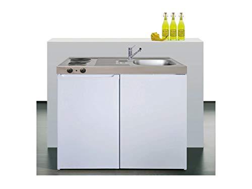 Stengel Miniküche Easyline ME 100 kleine Küchenzeile mit Kühlschrank und Kochfeld, Pantryküche, Kompaktküche - Farbe: weiß/Breite: 100cm