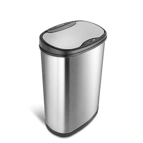 NINESTARS DZT-50-25 Motion Sensor Trash Can, Large, Silver