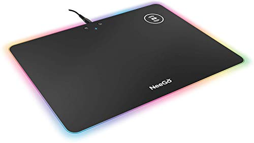 NEEGO RGB Gaming Mouse Pad Non-Slip Rubber Base Mouse Mat Adjustable Brightness and Wireless Charging for Laptop Computer PC Games (13.9 x 10 inch)
