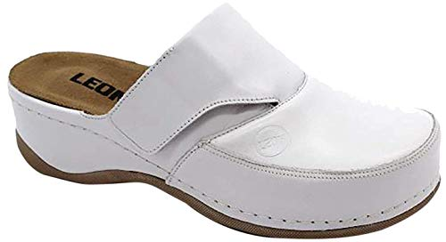 Leon 2019 Zoccoli Sabot Pantofole Scarpe Pelle Donna, Bianco, EU 37