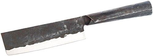 TokioKitchenWare Chinesisches Kochmesser: Nakiri Hackmesser mit Stahlgriff, handgefertigt (Küchenbeil)
