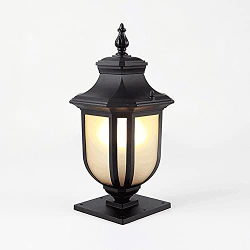 Kioiien Lámpara de Columna al Aire Libre Pilar a Prueba de Agua Postal Post Lamp Vintage Post Bolardo Light Garden Cerca Lámpara Paisaje Comunidad Externa Villa Patio Linterna (Size : Large)