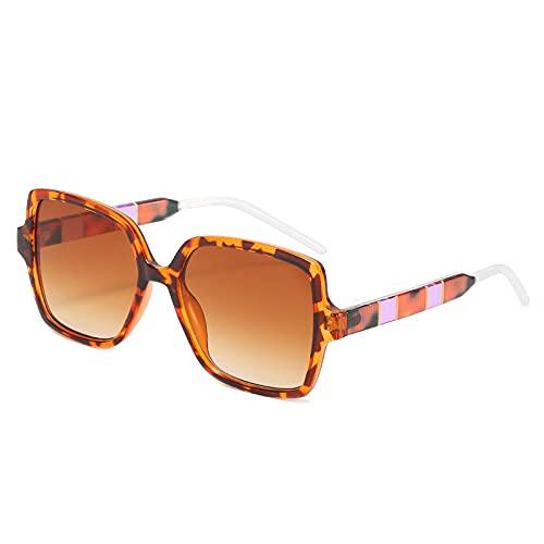 Gafas de sol Hombres y mujeres cientos de gafas de sol Trend gafas de sol personalidad color coincidente gafas-Hoja de té gradual de marco de leopardo C3