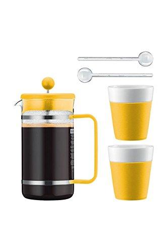 Bodum Kaffeeset Bistro - 6-teilig - 1,0l Kaffeebereiter mit 2 0,3l Porzellantassen und 2 Löffel - Farbe gelb - AK1508-XY-Y15-7