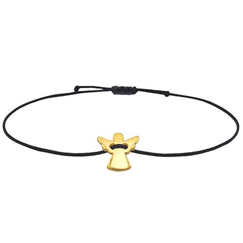 Selfmade Jewelry Schutzengel Armband Gold – Engel Anhänger und schwarzes Macraméband – Glücksbringer Armbändchen handgemacht & größenverstellbar
