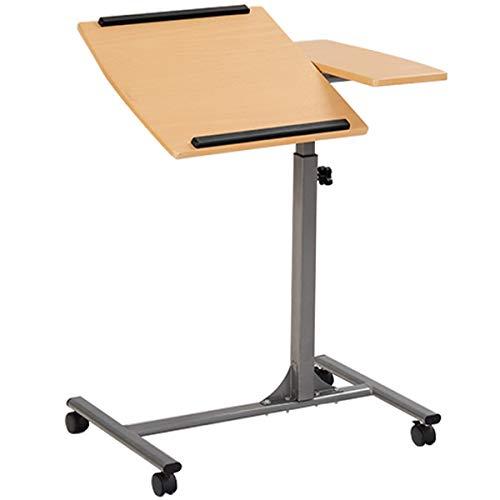 DREAMADE Beistelltisch mit Rollen und Bremsen, Betttisch Laptoptisch Pflegetisch Höhenverstellbar und Neigungsverstellbar, Notebooktisch Couchtisch