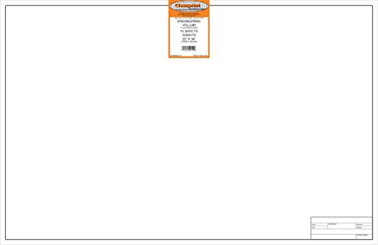 Clearprint 1000H Design Vellum Sheets with Engineer Title Block, 16 lb, 100% Cotton, 22 x 34 Inches, 10 Sheets Per Pack, Translucent White (10221226)