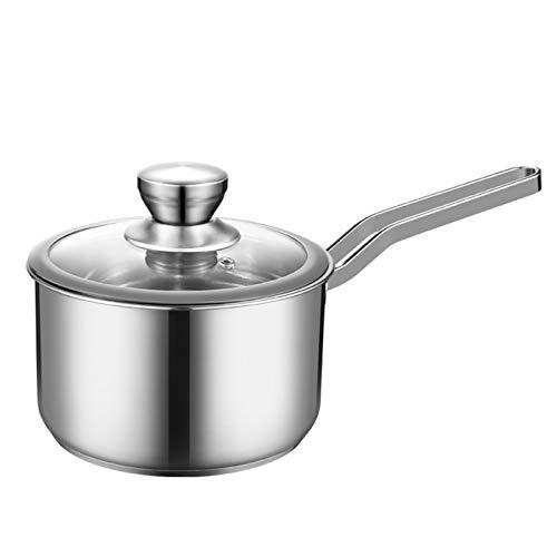 Cacerola de la salsa de acero inoxidable con vapor con tapa, molde de fondo de fondo grueso con tapa, fácil de limpiar y no caliente para todas las estufas pequeñas, olla, pote, inducción, lavavajilla