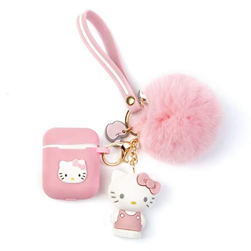 iFiLOVE Schutzhülle für AirPods, süße Cartoon-Katze, weiches Silikon, stoßfest, mit Puppe Plüschball & Armband, für Apple Airpods 1 und 2 Ladehülle