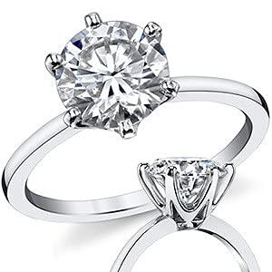 Customize Jewels Anillo de Moissanita de 0,50 - 3 quilates, plata de ley chapada en platino con corte redondo para mujer, compromiso, compromiso, boda, D-VVS1