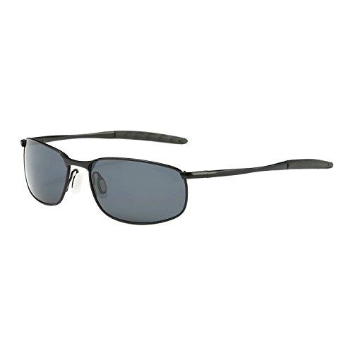 ZHILE 8-base Curve Wrap Metal Frame Polarized Sunglasses for Men (Black frame Grey Lens, 57)