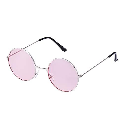 Ultra Silberne Rahmen mit Rosa Linsen Klassische John Lennon Sonnenbrille Groß Stil Runde Sonnenbrille Damen Herren mit UV400 Schutz Männer Frauen Unisex Retro Sonnenbrille