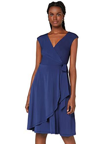 Amazon-Marke: TRUTH & FABLE Damen Wickelkleid aus Jersey, Blau (Blue), 44, Label:XXL