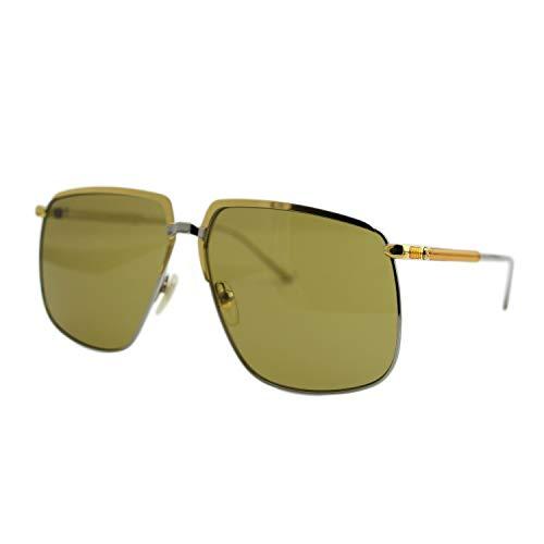 Gucci GG 0365S 003 Gold Silber Metall Pilotenbrille Sonnenbrille grün