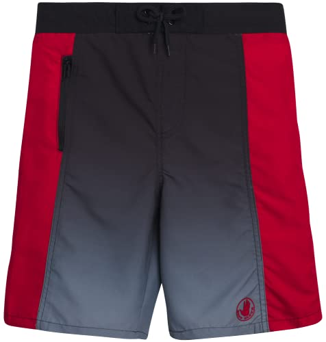 Body Glove Boys' Board Shorts - UPF 50+ Quick Dry Bathing Suit (Big Boy), Size 10/12, Black/Red