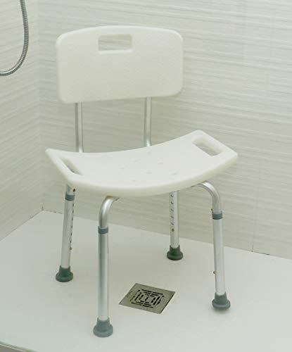 OrtoPrime Orthopedische douchestoel – badkruk met rugleuning – douchestoel in hoogte verstelbaar – douchestoel voor oudere personen – antislip