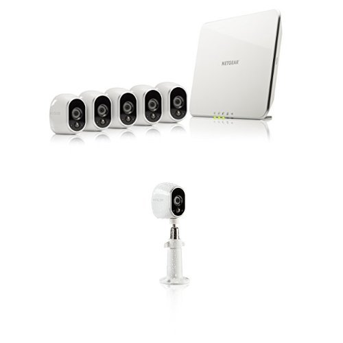 Arlo Security System - 5 Wire-Free HD Cameras, Indoor/Outdoor, Night Vision (VMS3530) with NETGEAR Outdoor Security Mount in White