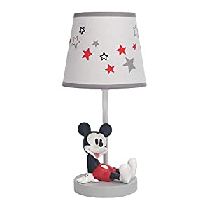 Lambs & Ivy Disney Baby Magical Mickey Mouse Lamp with Shade and Bulb – Gray