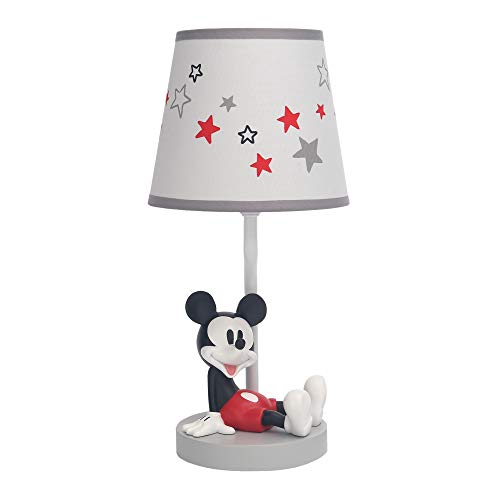 Lambs & Ivy Disney Baby Magical Mickey Mouse Lamp with Shade and Bulb - Gray