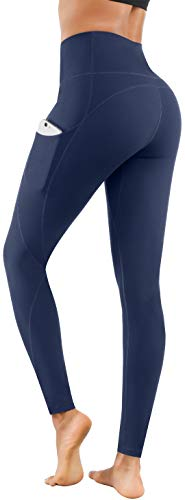 Lingswallow High Waist Yoga Pants - Yoga Pants with Pockets Tummy Control, 4 Ways Stretch Workout Running Yoga Leggings (Navy,Medium)