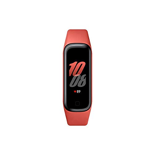 Samsung Galaxy Fit2 Fitness-Tracker, 1,1 Zoll AMOLED Farbdisplay, Fitnessarmband mit hohem Tragekomfort, wasserdichte Fitnessuhr, bis zu 21 Tage Akkulaufzeit, Schlafanalyse, rot