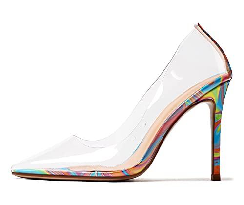 Castamere Scarpe col Tacco Donna Moda Trasparente Pumps Tacco a Spillo 10CM High Heels Multicolore...