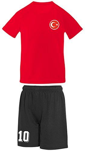 Kinder-Trikot und Shorts im Türkiye-Stil, personalisierbar Gr. 12-13 Jahre, rot