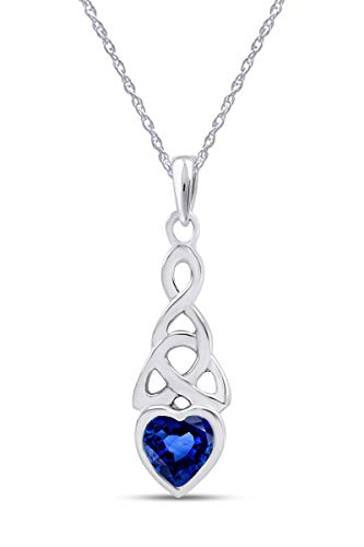 AFFY Trinity Heart Celtic Knot Pendant Necklace Simulated Sapphire 14K White Gold Over Sterling Silver
