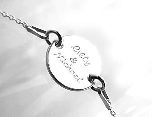 Personalisiertes Armband mit Gravur, Silber 925, Runde Scheibe, 12 mm, Namensarmband für Frauen